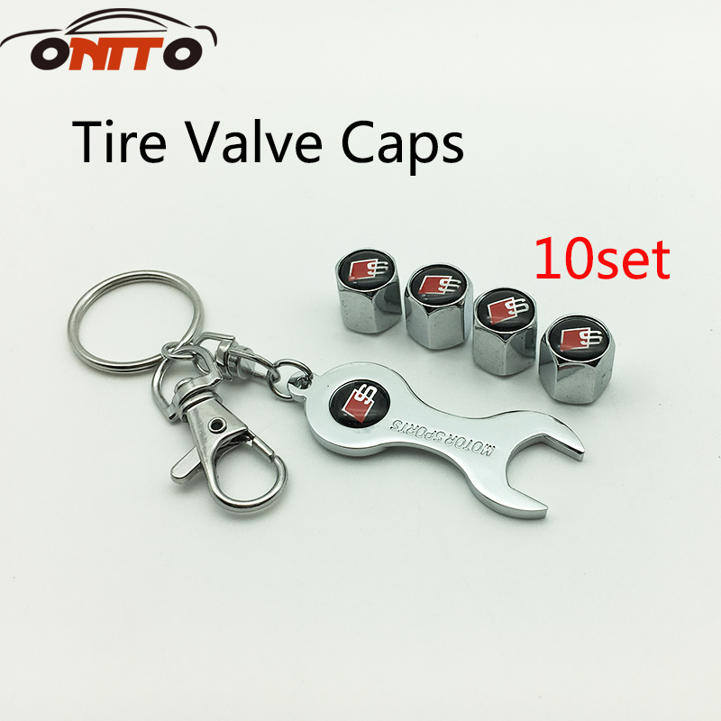 10 set for A1 A2 A3 A4 A5 A6 A7 A8 Q1 Q3 Q5 Q7 TT R8 S RS Tire Valve Caps Auto Tyre Air Stems Cover S logo