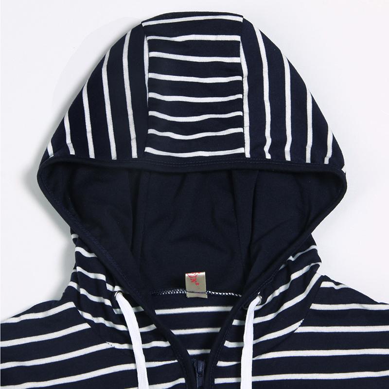 Moda damska Stripes Casual Zipper Bluzy Z Kapturem Kieszeni Kobiety Bluza Plus Rozmiar S-5XL LJ7847R 5