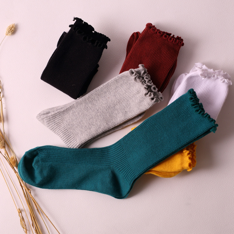 Women Socks New Fashion 1 Pair Long Socks School Style Cotton Solid Color Retro Women Fashion Fresh COTTON Socks Women Korean