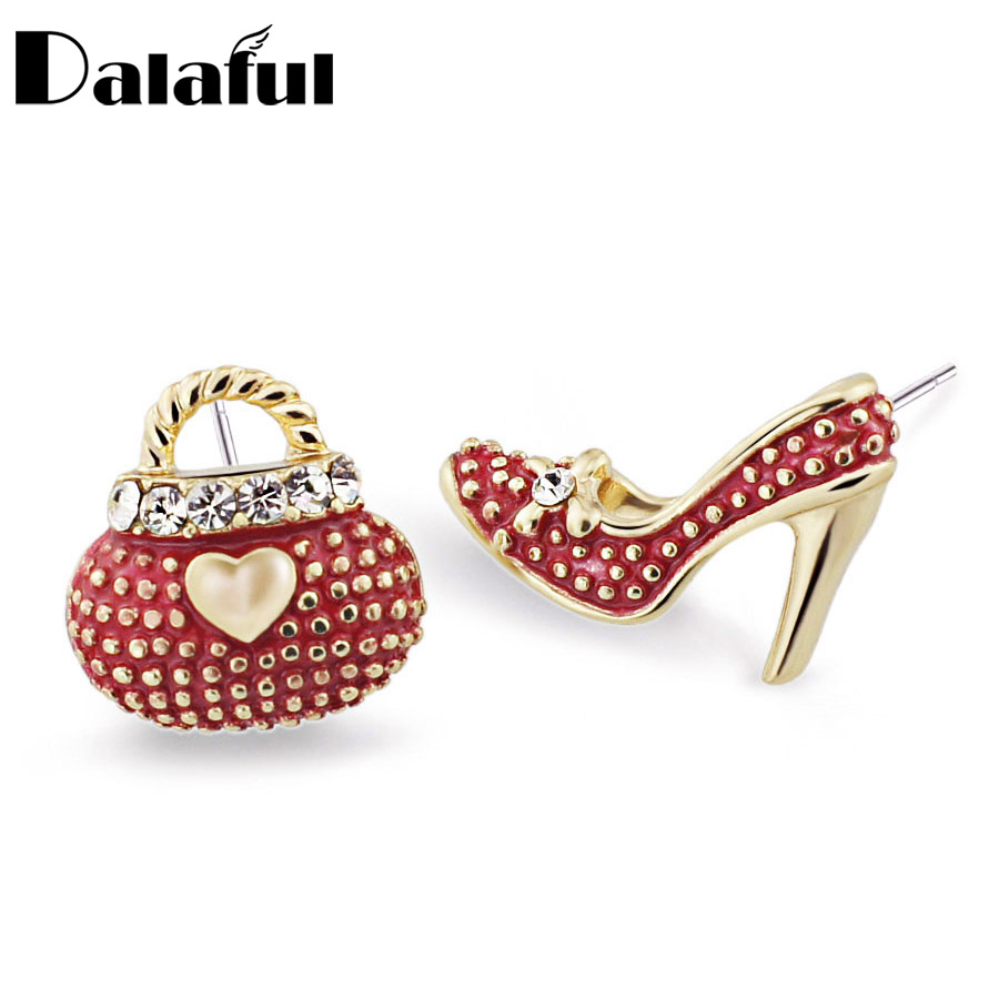Asymmetric High Heel Shoe Bag Stud Earrings for Women Crystal Lady Girls Earrings 3 Colors E439