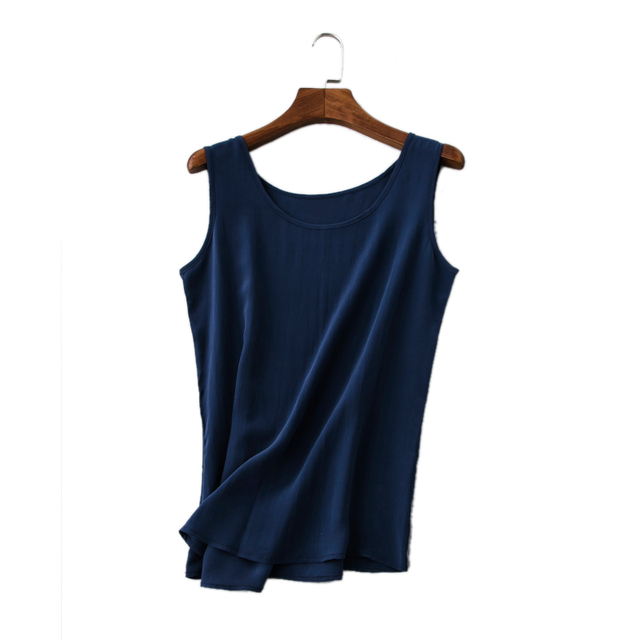 100% Pure Silk Women's Tanks Vest Tops Summer Simple O-neck Solid Women Sleeveless Female Wild Basic Shirts Woman