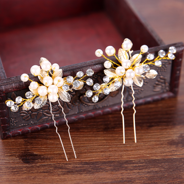 Handmade Gold Color Crystal Simulated Pearl Bridal Hairpins For Wedding Hair Acc