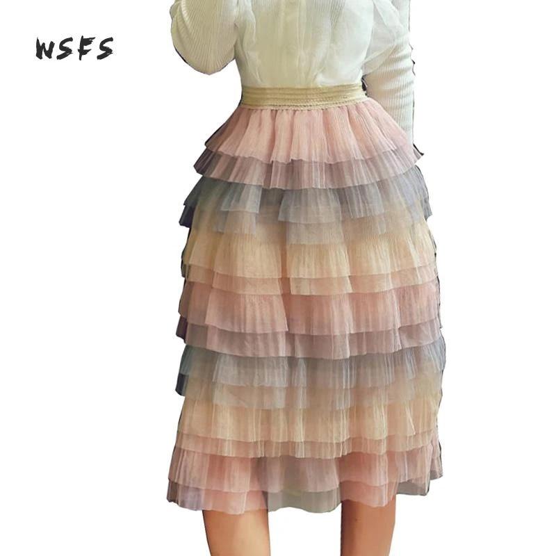 Wsfs Mesh Rainbow Cake Skirt Black Pink Long Lace Ball Gown Skirts Women Elastic Waist Bandage Vintage Party Sweet Bubble Skirt Ball Gown Skirt Bubble Skirtcake Skirt Aliexpress