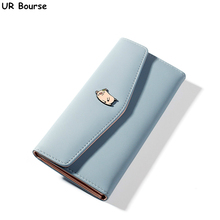 UR BOURSE Women's Long Clutch Girls Pu Leather Coin Purse Lady Multi-card Wallet Female Large Capacity Wallet Card Holder Buckle hello kitty large capacity long purse high quality pu lady card wallet gift for girlfriend
