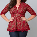 Size 12-22 Sexy Womens Ladies Batwing Lace Long Sleeve Loose Blouse Top