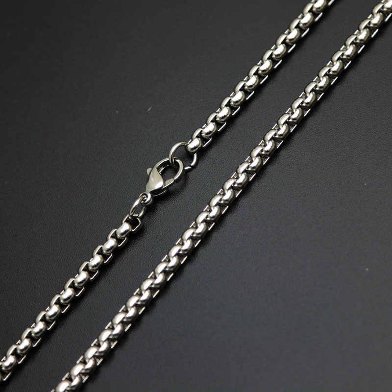 Moda srebrny łańcuszek 2mm 3mm 2.5mm 4mm 5mm skrzynka ze stali nierdzewnej naszyjnik łańcuch dla kobiet mężczyzn wisiorek medalion