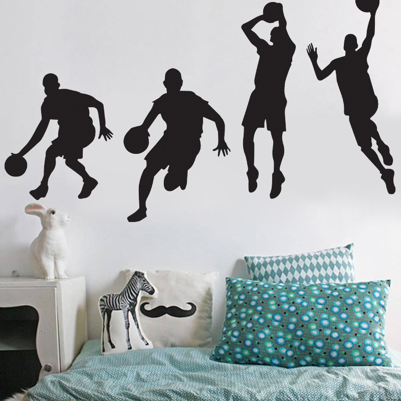 Basketball Player Michael Jordan Dribble Dunk Wall Stickers Boys Bedroom Decoration Stickers Removed PVC Decal Mural