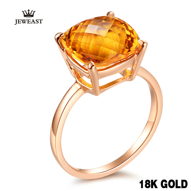 18k 14k Natural Citrine Rose Gold Ring Elegant And Beautiful Minimalism Affordable Price Women Girl Party 2017 New Fine Good