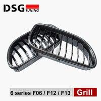 640i 650i 640d carbon fiber black m sport abs front bumper grill racing grille m6 emblem for bmw 2012+ 6 series f06 f12 f13