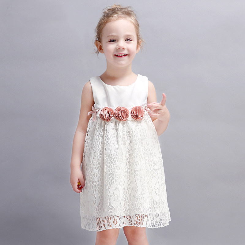 2017 Little Baby Girls Birthday Party Dress Flower Decoration Dresses Cute Princess Evening  Clothes for age2345678Years Old casual women s tote bag with embossing and solid color design