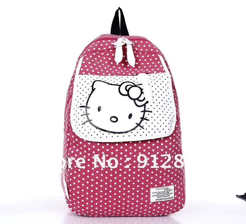 The Korean style of the backpack Polka Dot Canvas Backpack Bags hello kitty  Backpack girl cute female school bags-in School Bags from Luggage   Bags on  ... ab25498239233