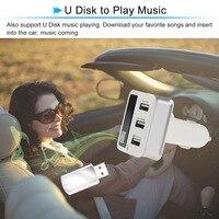 Muti-función de Pantalla LED Cargador de Coche Bluetooth Transmisor FM Encendedor MP3 de Llamadas de Teléfono de Manos Libres Kit de Coche 3 USB puerto