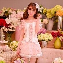 Prenses tatlı lolita etek Şeker yağmur Japon tarzı yaz sevimli Net İplik patchwork dantel balo Kısa etek C15AB5686