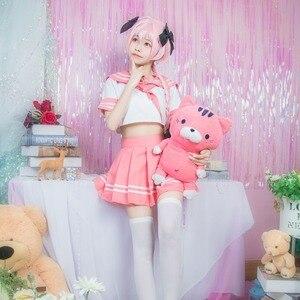 Image 4 - Black Knight Apocrypha Astolfo Cosplay Costume Japanese Student Girl School Uniform Wig Bow Halloween Sailor Suit Full Set 2018