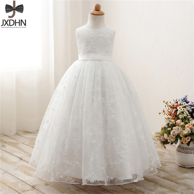 White Lace Flower Baby Wedding Dress Children Evening Ball Gown Girl Clothing for Girl Ceremony Dresses Clothes Kids Party Dress