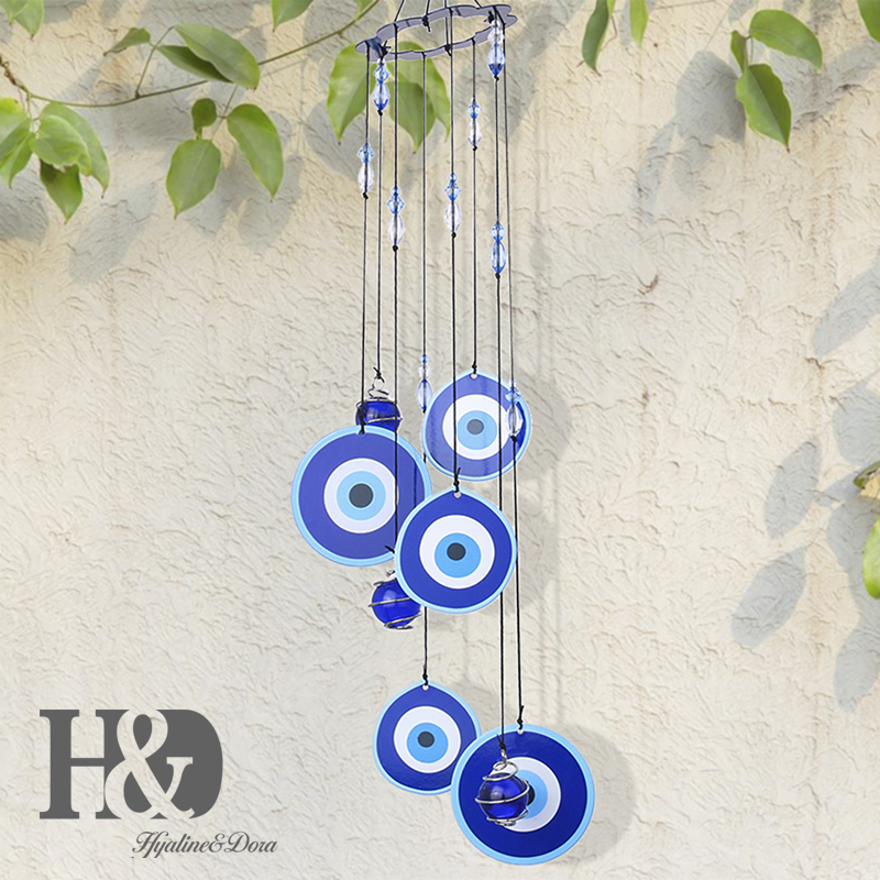 H&D Turkey Evil Eye Wind Chimes Dream Catcher Pendants Amulet Home Wall Hanging Decor Blessing Protection Gift (Blue)