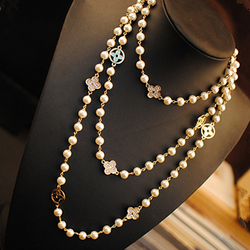 New Fashion Pearls Rhinestone Four Leaf Clovers Double Chain Necklace Women Long Sweater Chain choker
