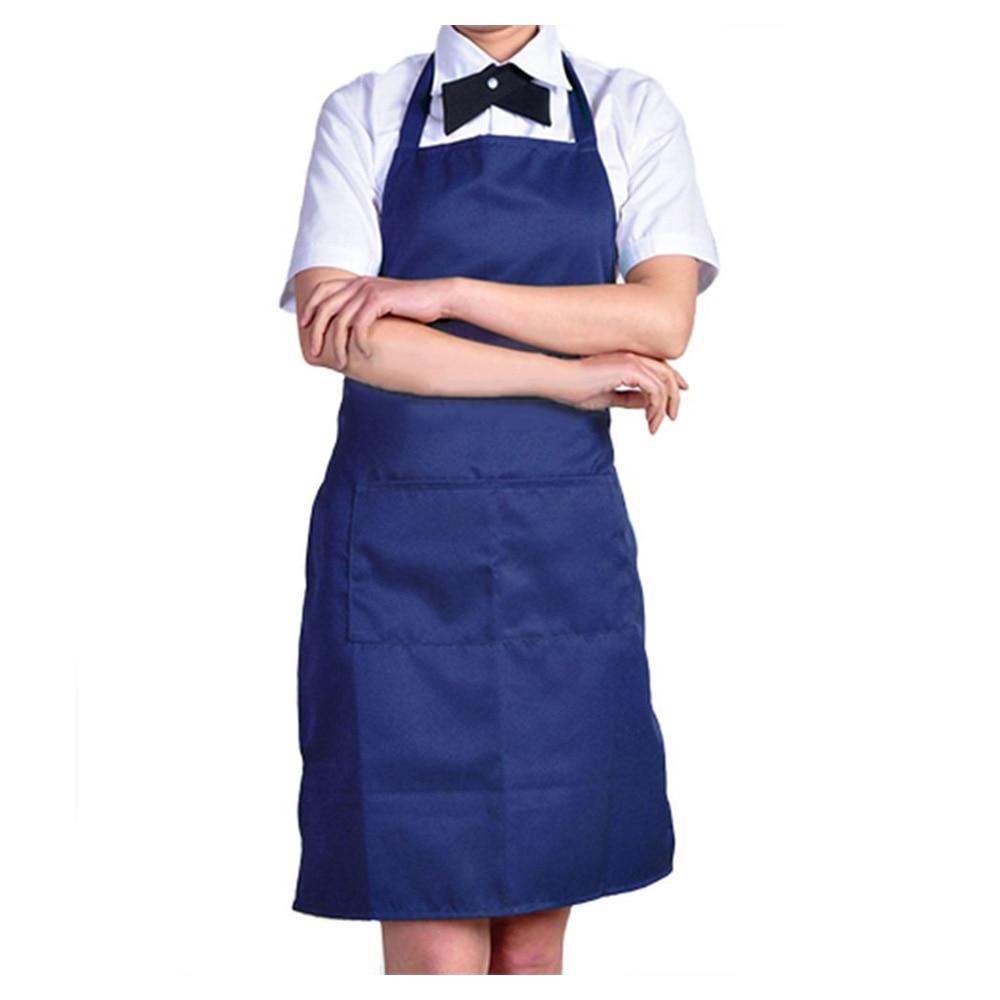 GSFY-Plain Apron with Front Pocket Kitchen Cooking Craft Baking Dark Blue