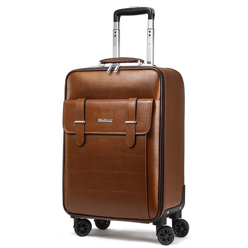 LeTrend PU Leather Men Business Rolling Luggage Spinner 16 Inch Cabin Trolley Password Suitcase Wheels 24 Inch Travel Bag Trunk