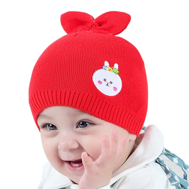 Children Warm Caps Hats Autumn Winter Toddler Knitted Baby Hat Adorable Rabbit Hat Baby Bunny Beanie Cap Photo Props super cute big five star cotton beanie hats skull cap for 1 4 years toddler infant baby winter children caps warm hat