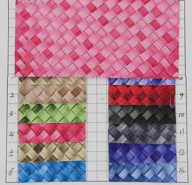 Semi Pu Leather Handbag Fabric Quality New Grant Weave Pattern Faux Material