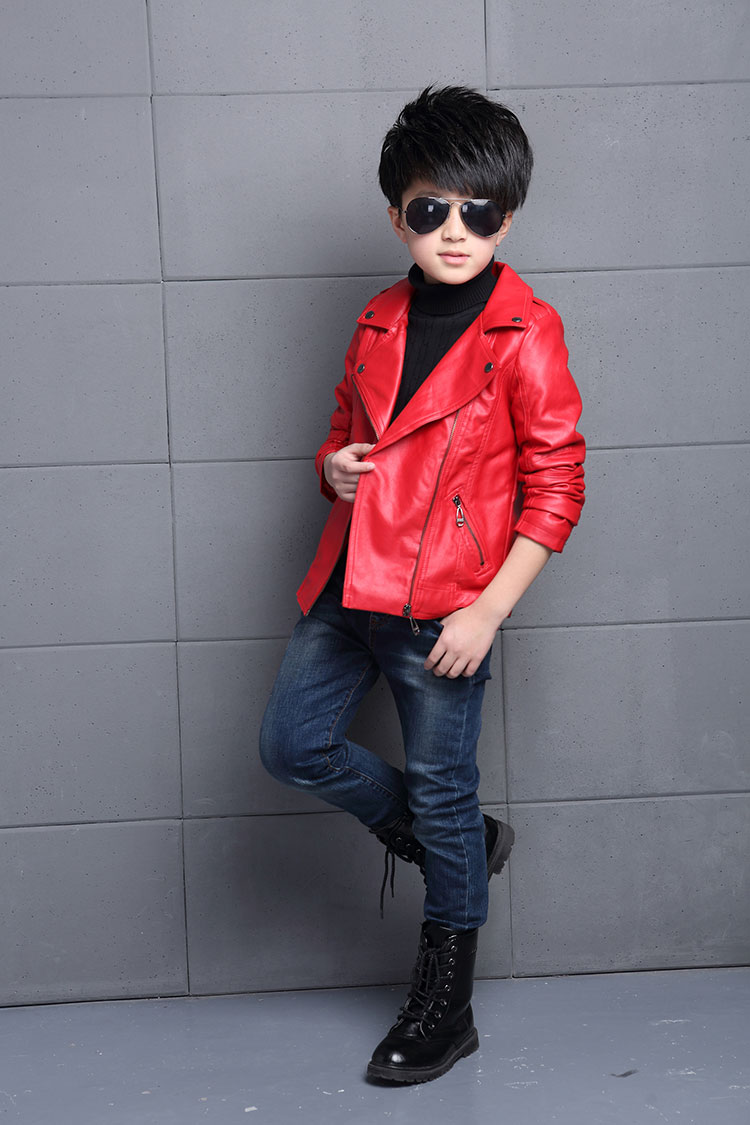 6cb3592437c4 NEW Baby Boy Leather Jacket Outwear Coats Spring Kids Leather Jackets Boys  Casual Clothing Black Solid Children Outerwear