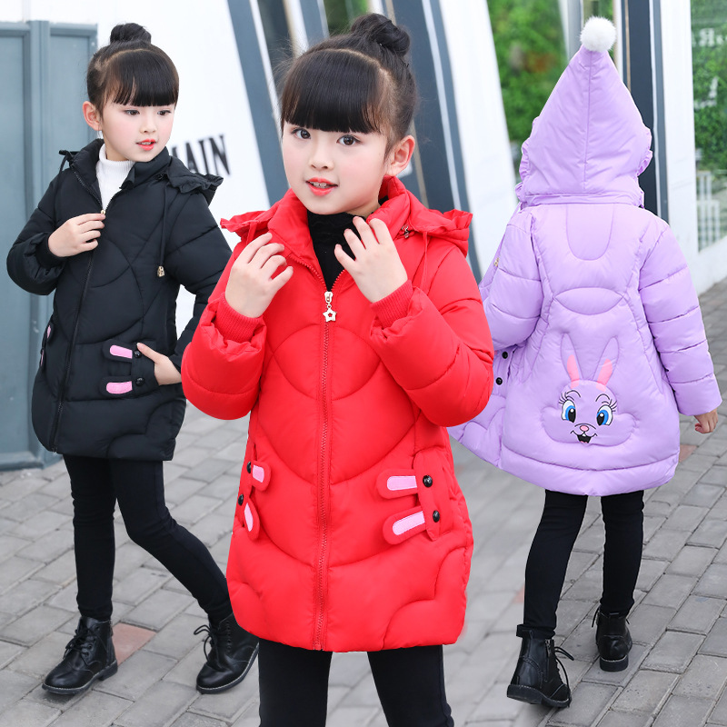 2-8 Years Girl Winter Parka Coat Jacket For Children Fashion Hooded Solid Thick Cotton Wadded Rabbit Outerwear Color Black / Pur long section men s solid cotton padded wadded jacket fashion clothes trench coat hooded jackets casual outerwear slim parka 3xl
