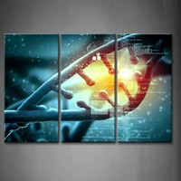 Framed Wall Art Pictures Color Dna Molecule Abstract Canvas Print Abstract Posters With Wooden Frames For Living Room