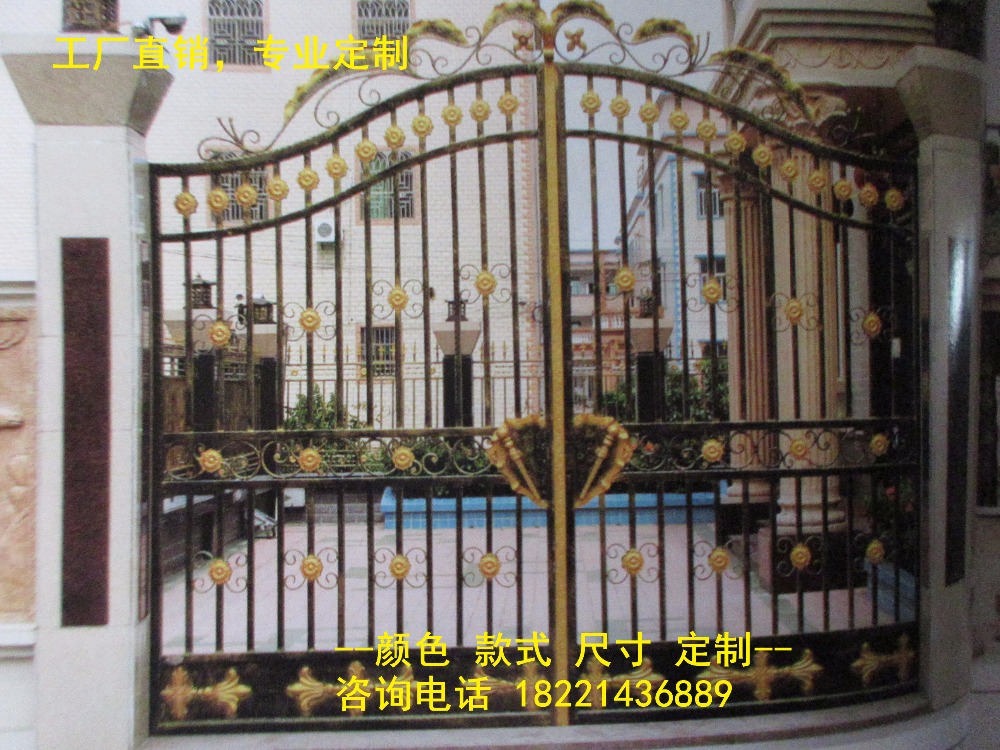 Custom Made Wrought Iron Gates Designs Whole Sale Wrought Iron Gates Metal Gates Steel Gates Hc-g47