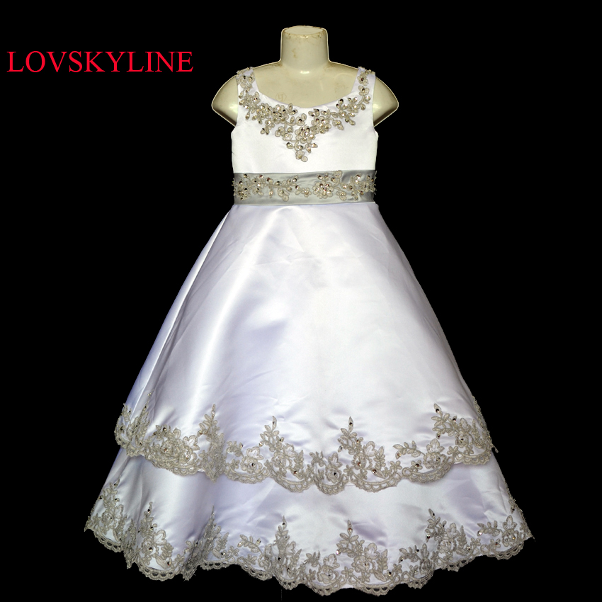2017 Custom sizes New Beautiful flower girl dress Top quality Wholesale price Real photo 100% same as the real photo Sky-482