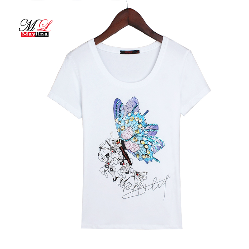 ad16c938 MLinina Summer T-shirt Women 2018 Casual Cotton Cartoon Sequins Tops  Butterfly Black White Plus Size T-shirts 3XL Female Diamond