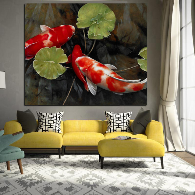 Painting For Living Room Feng Shui Ideas Ikea Furniture Chinese Koi Fish Lotus Canvas Prints Animal Landscape Wall Art Picture Moder Home Decoration
