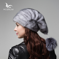 MOSNOW Whole Genuine Mink Fur Hats Female Winter With Fox Fur Pompons Elegant Luxury High Quality Ladies Beanie