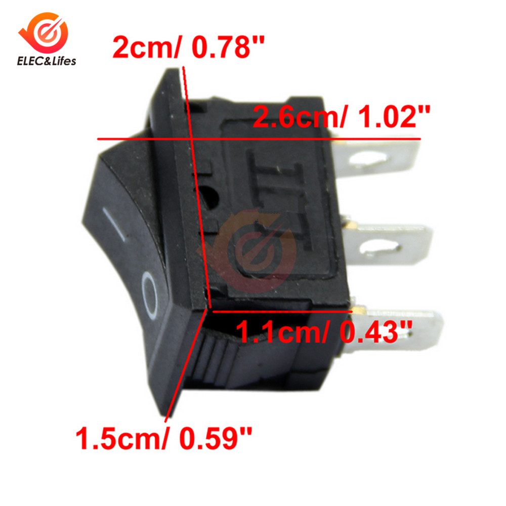 10Pcs KCD1-102 <font><b>3PIN</b></font> <font><b>3Pin</b></font> 6A <font><b>250V</b></font> <font><b>10A</b></font> 125V AC Rocker Switch 3P ON-OFF 2 Position Power Switch Button Rocker Switches image