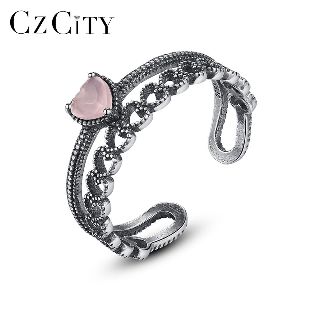 CZCITY New Vintage Solid Thai Silver Heart Open Rings For Women Anniversary Fine Jewelry Pink CZ Anillos Femme Love Gifts SR0283