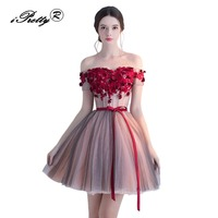 iPretty Women Winter Mesh Evening Party Dress 2017 New Sexy Off Shoulder Applique Bandage Ball Gown Retro Rockabilly Dresses