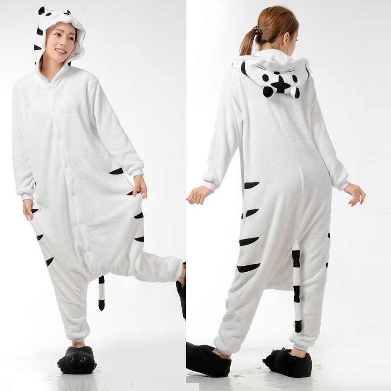 Кигуруми Тигр с длинным рукавом капюшоном Onesie Зима Kegurumi Домашняя  одежда теплая Домашняя одежда милые животные f3d784dfbece6
