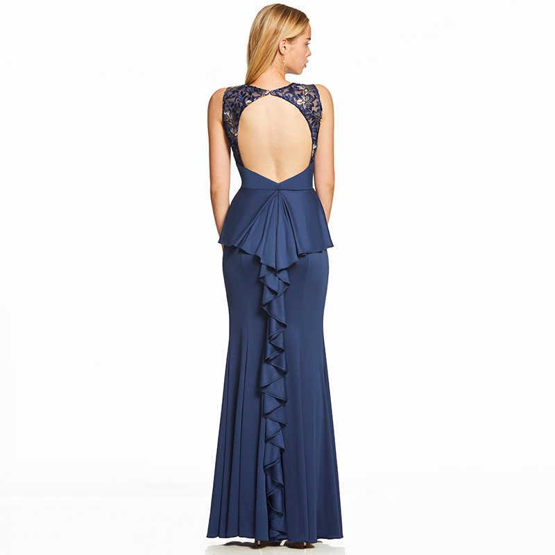 Dressv כהה רויאל בלו ארוך שמלת ערב ללא משענת זול סקופ צוואר מסיבת חתונה רשמי שמלת רקמת ערב שמלות