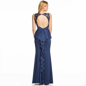Image 3 - Vestido de noche largo azul real oscuro, Espalda descubierta, barato, con cuello redondo, para fiesta de boda, formal, bordado