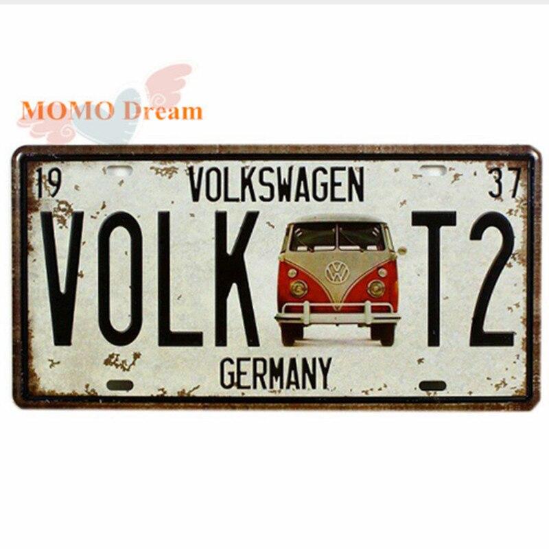 1 pcs VOLK T2 BUS GERMANY License Plates Vintage Art Wall Plaque decor House Metal Painting PUB Mix order 30*15 CM
