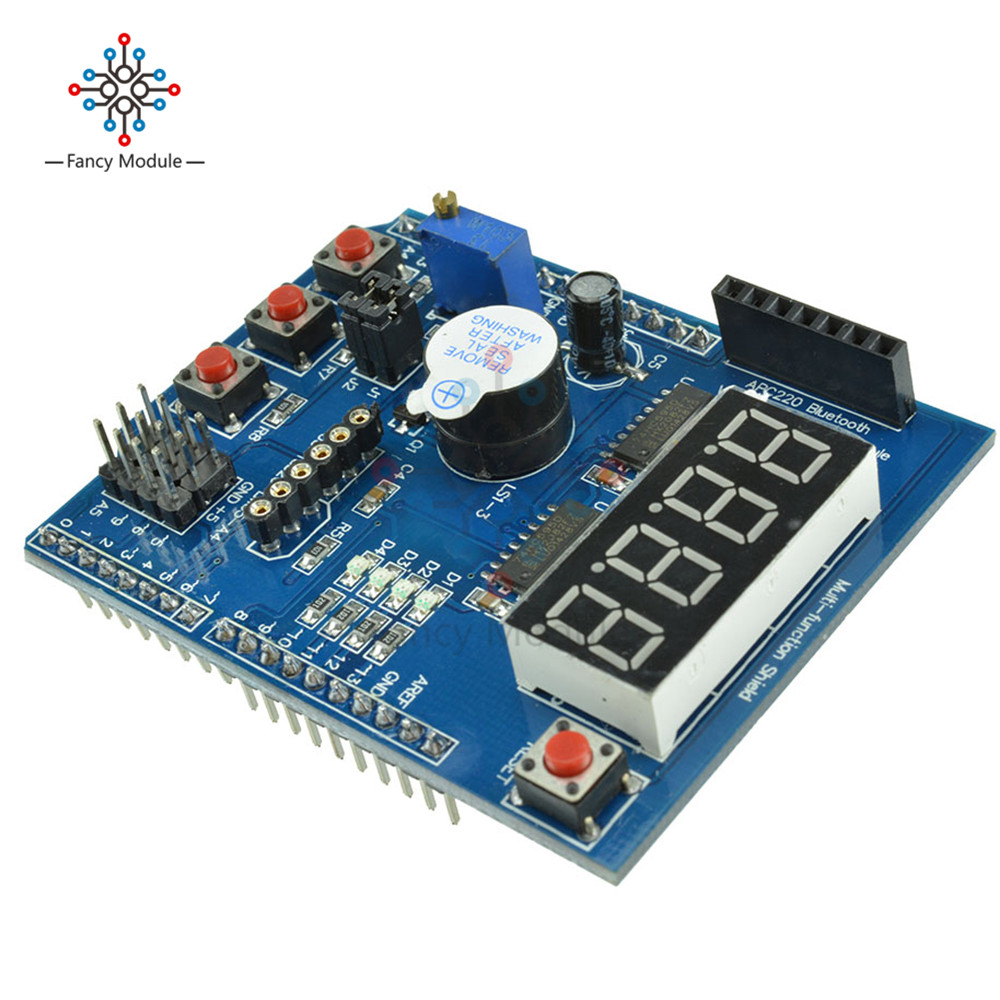 US $1 8 21% OFF|APC220 Bluetooth Voice Recognition Module Multifunctional  Expansion Board Shield LED display Kit for Arduino UNO R3 Mega2560-in