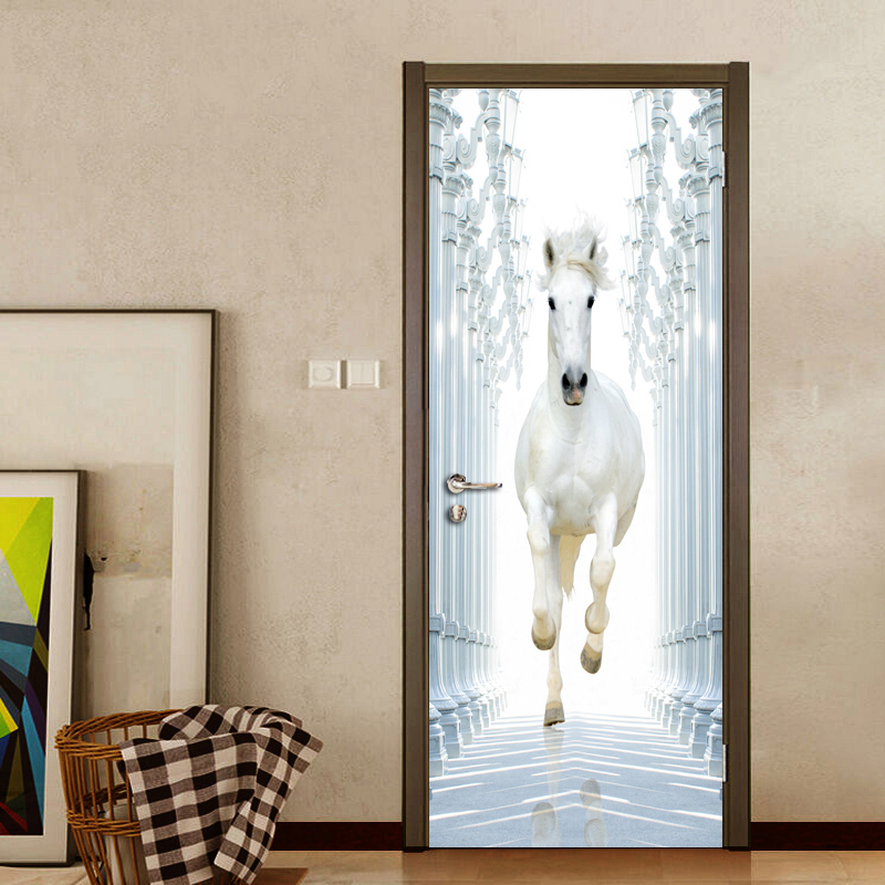 Roman Column White Horse 3D DIY Door Wall Stickers Home Decor Modern Study Room Bedroom Door Mural Vinyl Wallpaper Sticker PVC