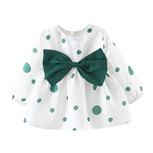 Children Girl Spring Dress Cute Bow A-Line Dresses Bottoming Long Sleeve Cotton Dress Clothing for Baby Girl Casual Dress мини печь чудо пекарь эдб 0122 сереб мет