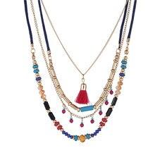 Boêmio multi camadas de cores colares colorido grânulos borla maxi longo étnico corrente jóias colar de indicação para colar feminino
