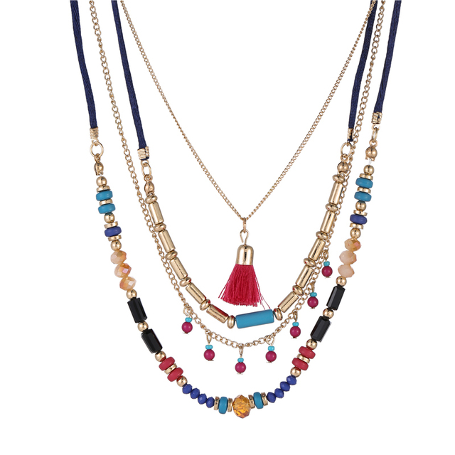 Bohemian Multi Color Layers Necklaces Colorful Beads Tassel Maxi Long Ethnic Chain Jewelry Statement Necklace For Women Collar