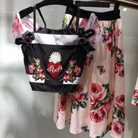WA06229 floral print sets women 2 piece sets women skirt top 2018 tanks and long skirt suit sets