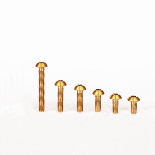 4 PCS M3 x 5mm-20mm Golden GR5 Titanium Screw Dome Button Head Hex Allen Model m3 titanium screw kit 9 size 90pcs m3 hex socket flat head screw din7991 titanium bolt super light screws 5mm 20mm