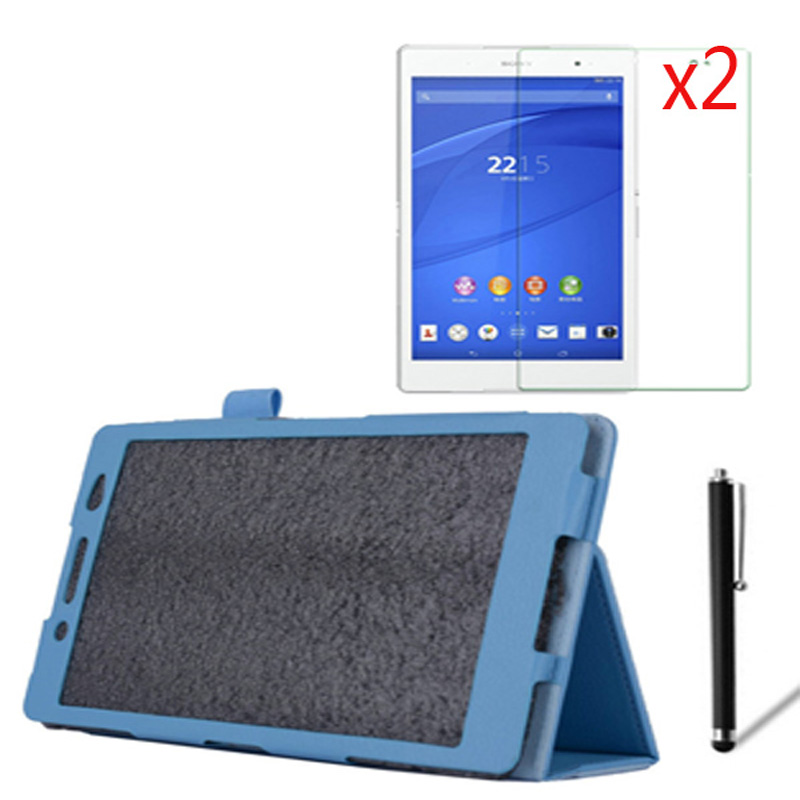 4in1 Luxury Magnetic Folio Stand Leather Case Cover +2x Screen Protector +1x Stylus For Sony Xperia Z3 Tablet Compact 8.0 SGP621 ultra thin smart flip pu leather cover for lenovo tab 2 a10 30 70f x30f x30m 10 1 tablet case screen protector stylus pen