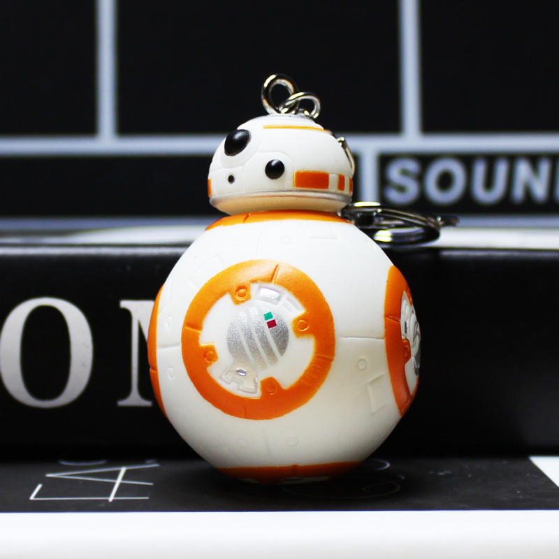 10Pcs/Lot Star Wars 7 PVC The Force Awakens BB8 BB-8 Droid Robot Figure Toy With Keychain Key Ring Pendant Great Gift 7cm