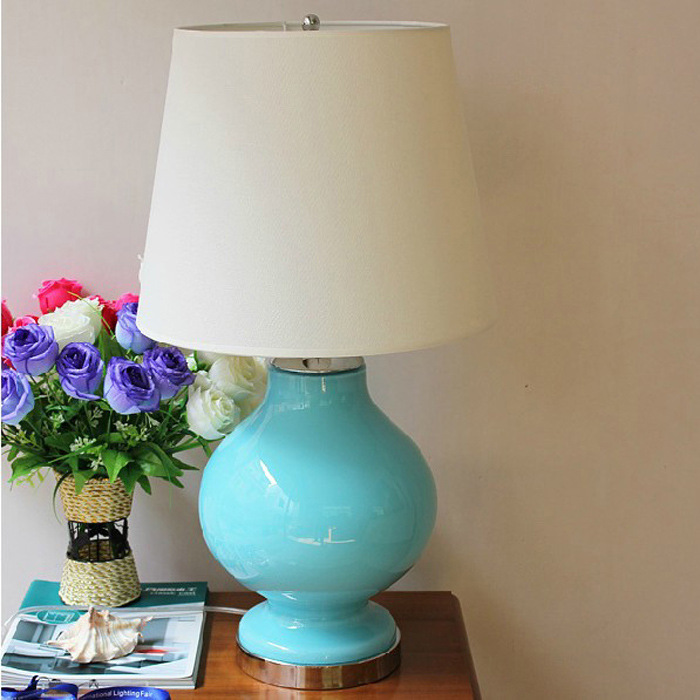 American Country Bedroom Bedside romantic ceramic Table Lamp Nordic Fashion Creative Glass Cloth Living Room Desk Lamp A269